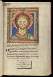 Image of Christ from St Veronica's Veil, in a Psalter